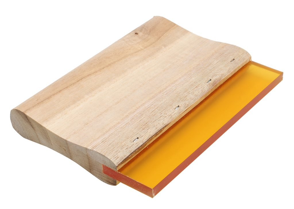 a wooden handle squeegee
